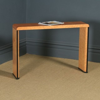 Antique English Art Deco Birds Eye Maple & Walnut Occasional Side / Console Table (Circa 1930)