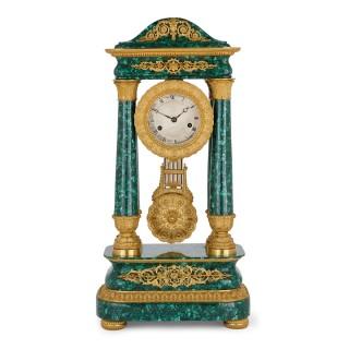 Antique 19th Century Bourbon Restauration Malachite and Gilt Bronze Mantel Clock