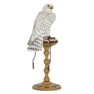 Large White Agate Model of a Falcon with Silver, Gold and Diamond