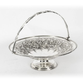 Antique Victorian Silver Plated Fruit Basket William Gallimore & Co 19th C