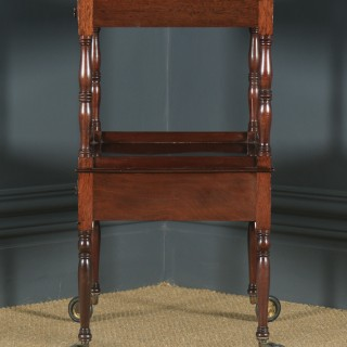 Antique English Edwardian Regency Style Flame Mahogany Side Table / Serving Trolley (Circa 1910)