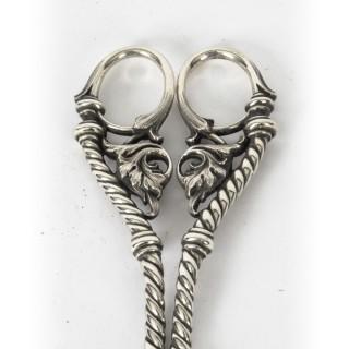 Antique Pair Victorian Silver Plated Grape Scissors 19th C