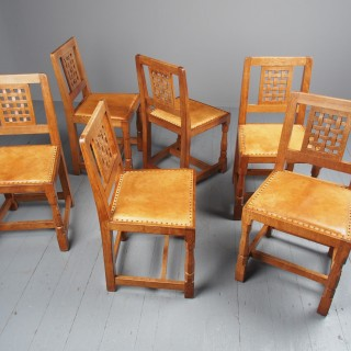 Mouseman Oak Dining Table and Set of 6 Chairs