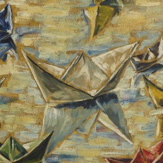 Oil painting of sailing boats by Hermann Fechenbach