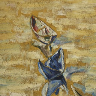 'Paper Boats', Modern Expressionist Style Oil on Board by Hermann Fechenbach