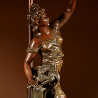 Symbolic Industrial Revolution Sculpture Of A Lady Now As Table Lamp.