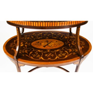 Antique English Marquetry Etagere Tray Table c.1890 19th C
