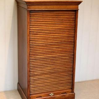 Solid Oak Lebus Tambour Front Filing Cabinet