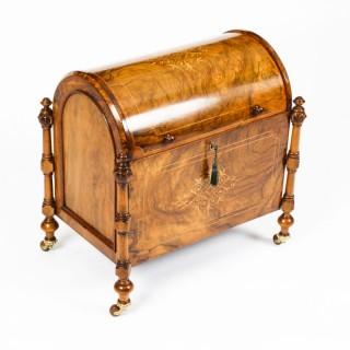 Antique Victorian Burr Walnut & Inlaid Marquetry Canterbury Magazine Rack 19th C