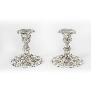 Antique Pair Victorian Rococo Revival Silver Plated Candlesticks, 19th C
