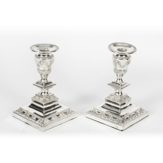 Antique Pair Neo-classical Silver Plated Candlesticks by Barker Bros Ltd 19th C