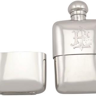 Sterling Silver Hip Flask - Boxed - Antique George V (1911)