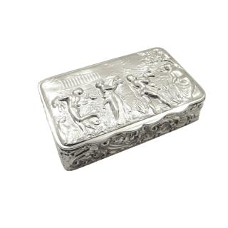 Antique Edwardian Sterling Silver Trinket Box with Scene 1901