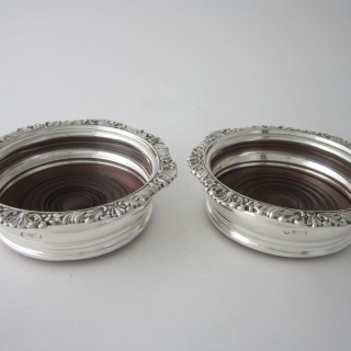 Antique Edwardian Sterling Silver Wine Coasters - 1903/4