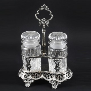 Antique Victorian Silver Plated Twin Cut Glass Bottle Pickle Set 19th C