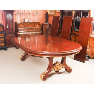 Antique Victorian 12ft Mahogany Twin Base Extending Dining Table 19th C