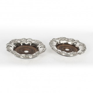 Antique Pair Silver Plated Coasters by William Howe & Co 19th Century