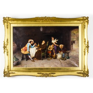 Antique Oil on Canvas Painting by Francesco Bergamini Dated 1894 19th C