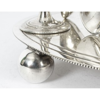 Antique Silver Plated Egg Cruet with spoons 19th Century