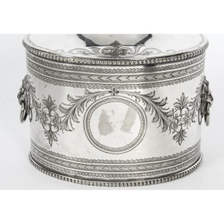 Antique Silver Plaed Tea Caddy by Martin Hall 19th Century
