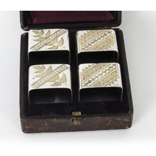 Antique Cased Set of Four Silver Plate Napkin Rings by Elkington 19th C