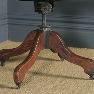 Antique English Edwardian Solid Oak Revolving Office Desk Arm Chair (Circa 1910)