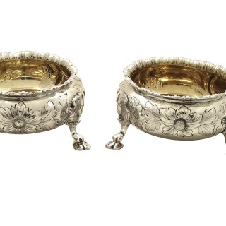 Pair of Antique Victorian Sterling Silver Salts 1869/1870