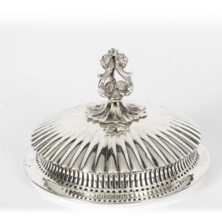 Antique Silver plate & Opaline Glass Bon Bon Dish 19th Century