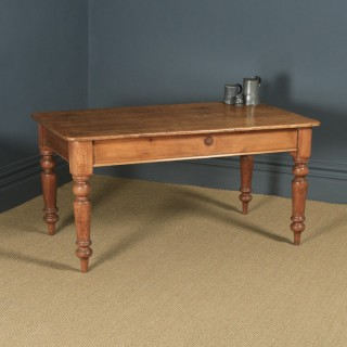 "Antique English Victorian 4ft 9"" Pine Farmhouse Kitchen Refectory Table (Circa 1880)"