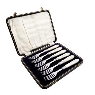 Set of 6 Antique Silver & Mother of Pearl Dessert Forks in Case 1854