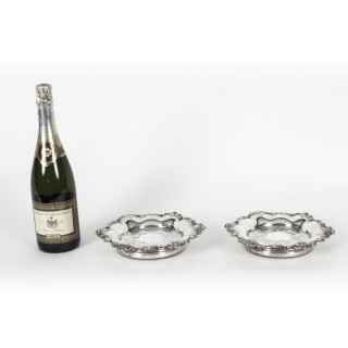 Antique Pair Old Sheffield Silver Plated Wine Coasters 19th Century