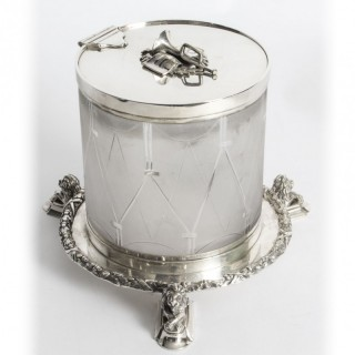 Antique silver plate and cut glass drum biscuit box 19th Century