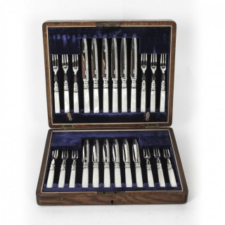 Antique Victorian Silver Plated Fruit Cutlery Set 19th C
