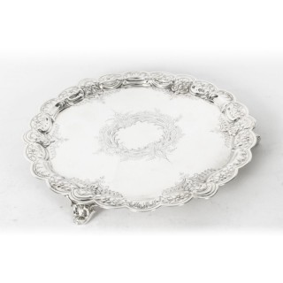 Antique Victorian Silver Plated Salver 19th Century