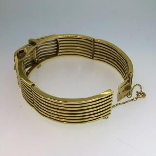 1950's Gold Sapphire and Diamond Cocktail Bangle