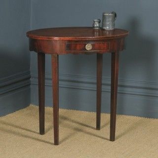 Antique English Georgian Regency Oval Flame Mahogany Occasional Hall / Side Table (Circa 1810)