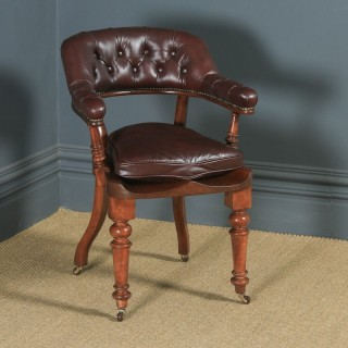 Antique English Victorian Mahogany & Brown Leather Office Desk Arm Chair (Circa 1880)