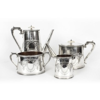 Antique Victorian Silver Plated Four Piece Tea & Coffee Set Elkington 19th C