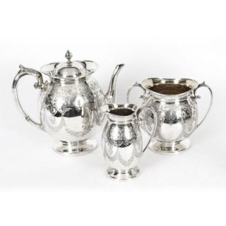 Antique Silver Plated Three Piece tea Set Atkin Brothers 19th Century