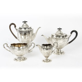 Antique Victorian Adam Revival Silver Plated Tea & Coffee Set C1880
