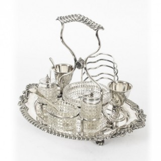 Antique Victorian Silver Plated Breakfast Set Toast Rack 19th Century
