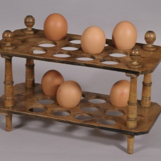 Antique Treen Early 20th Century Edwardian Sycamore Egg Stand