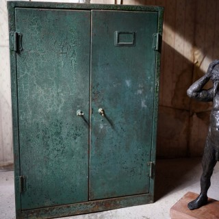 A Green Painted Industrial Steel Factory Cabinet c.1935-50