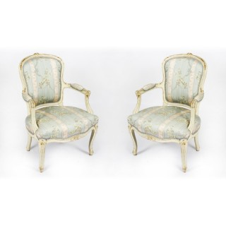 Antique Pair Shabby Chic Louis Revival French Painted Armchairs 19th Century