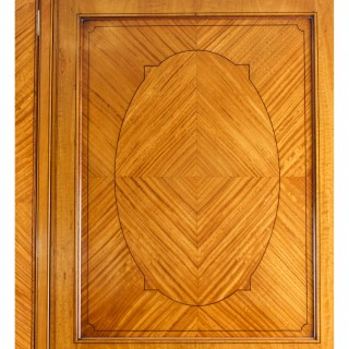 Antique Victorian English Satinwood Wardrobe c.1880 19th C