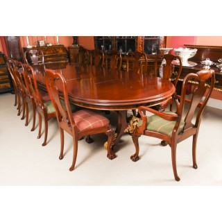 Antique Victorian Mahogany Twin Base Dining Table & 12 chairs 19th Century