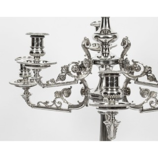 Antique 3ft Victorian Figural Silver Plate Candelabra Centerpiece C1860 19th C