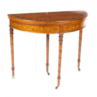 Antique Hand Painted Satinwood demi-lune Card Console Table 19th C