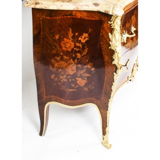 Antique French Louis XV Revival Marquetry Commode Chest 19th C