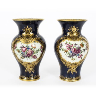 Antique Pair Royal Worcester Porcelain Vases Circa 1770